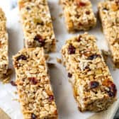 10 Minute Granola Bars cut into bars on a table