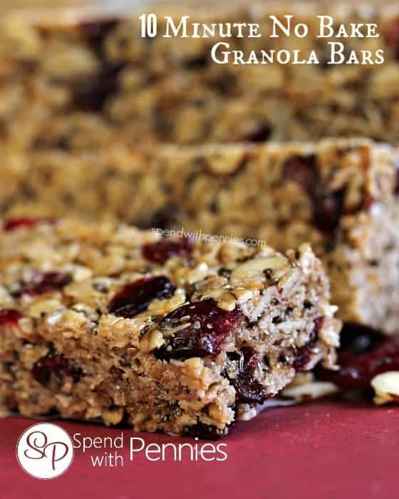10 Minute No Bake Granola Bars!  You can add whatever you like to these!
