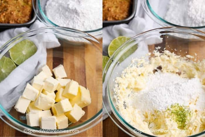 making the icing for a Tropical Banana Snack Cake