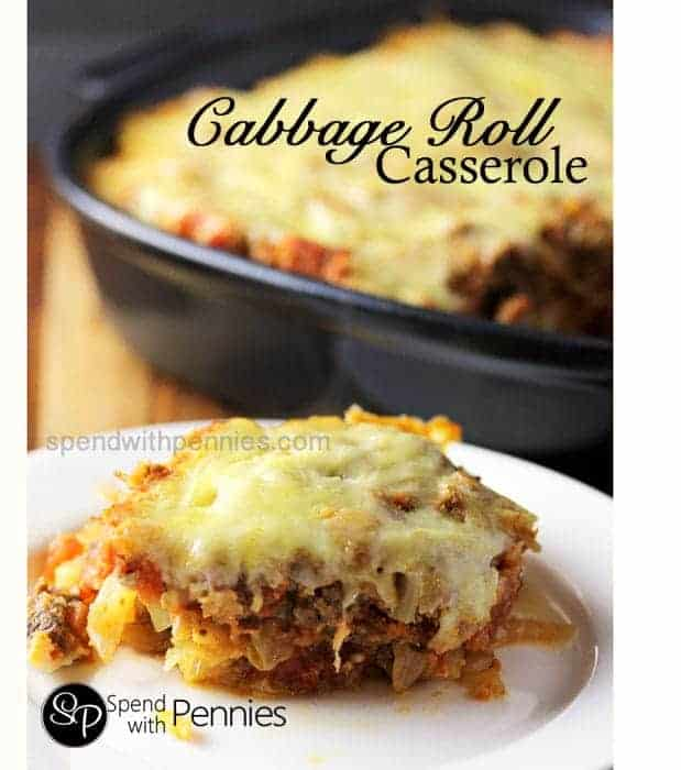 Cabbage Roll Casserole! Layers of meat sauce, rice and cabbage topped with cheese and baked in the oven!