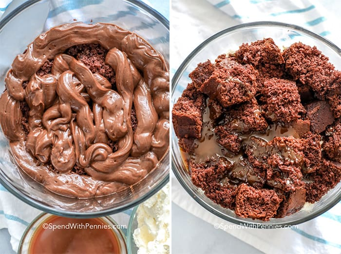 Two images showing the steps to layering the trifle with cake chunks and pudding.
