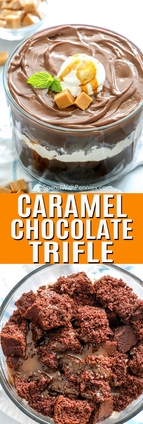 Caramel Chocolate Trifle with a title