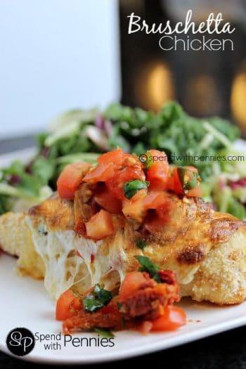bruschetta chicken bake on plate