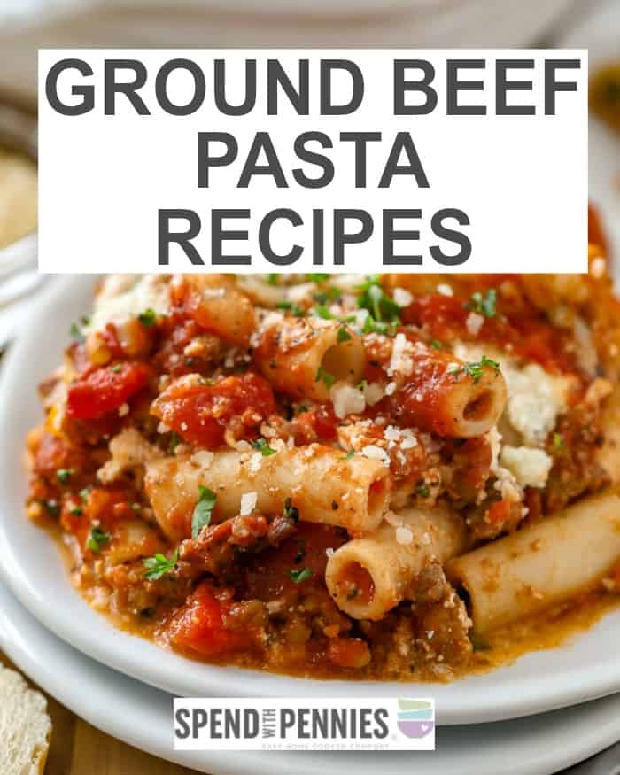 Ground Beef sauce over ziti pasta as part of a collection of ground beef pasta recipes.