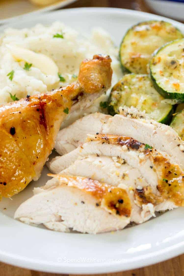 Lemon Roast Chicken on a plate