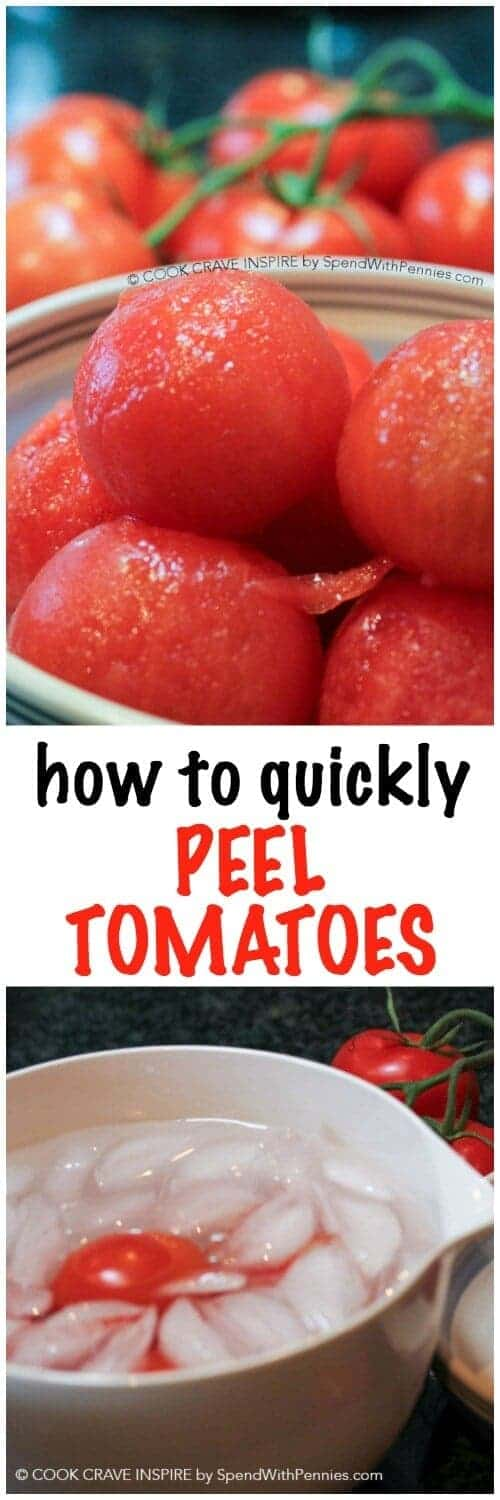 How to Peel Tomatoes! This quick and easy method will give you perfectly peeled tomatoes in a flash. This works for peeling peaches too!