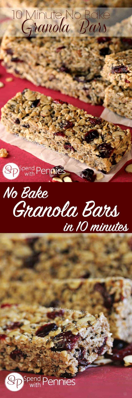 10 minute No Bake Granola Bars are so easy and delicious you may never buy granola bars again! #spendwithpennies #granolabars #easyrecipe #nobakerecipe #easysnackrecipe #kidfriendlyrecipe
