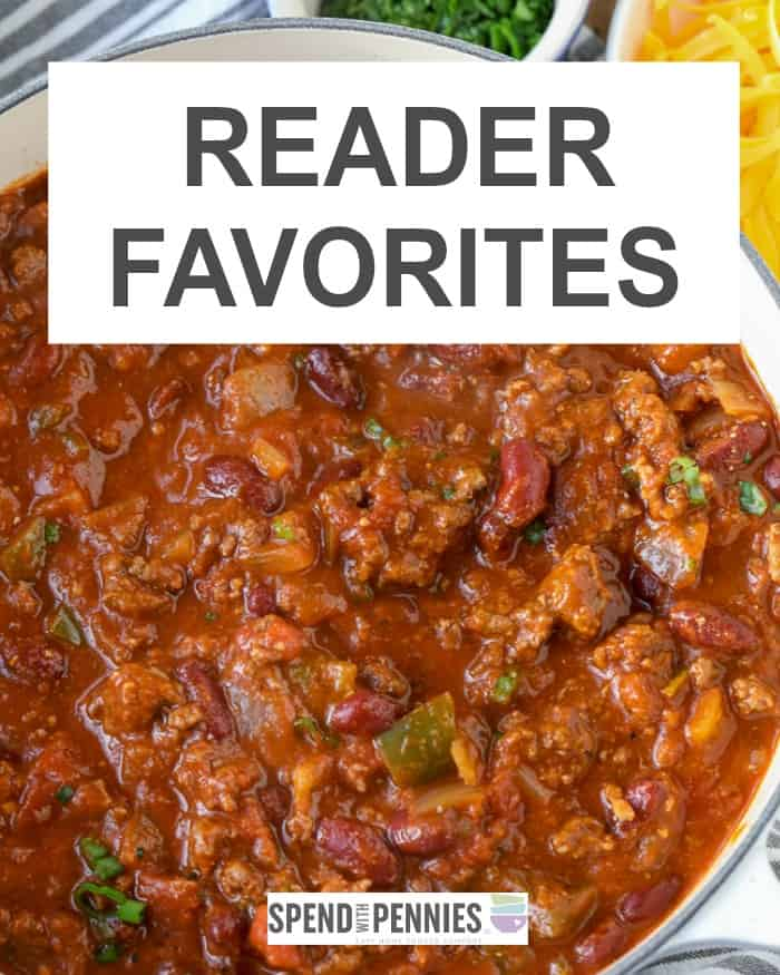 A pot of chili depicting reader favorite ground beef recipes