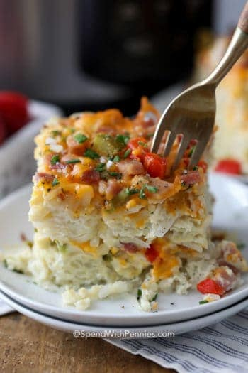 Slow Cooker Breakfast Casserole on a couple plates