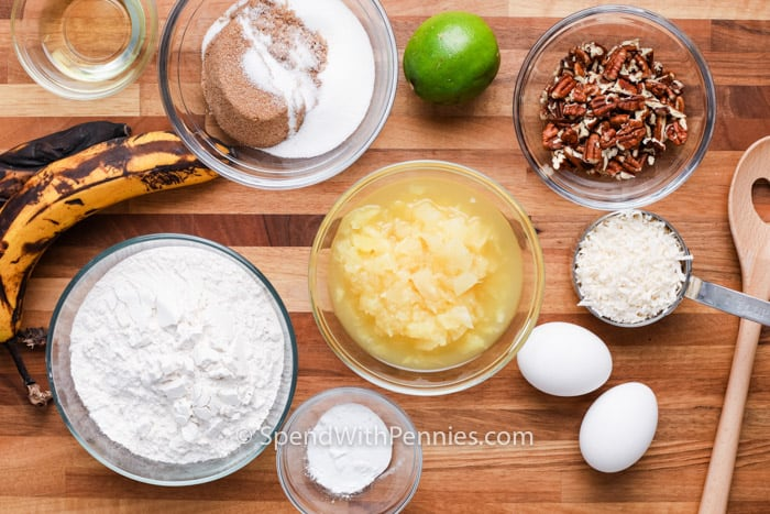 ingredients in bowls to make a Tropical Banana Snack Cake