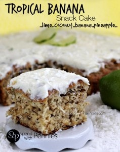 Amazing Tropical Banana Snack Cake! So moist and tasty! Lime, coconut, banana and pineapple are a perfect combination!