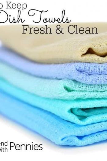 a stack of colored dishtowels