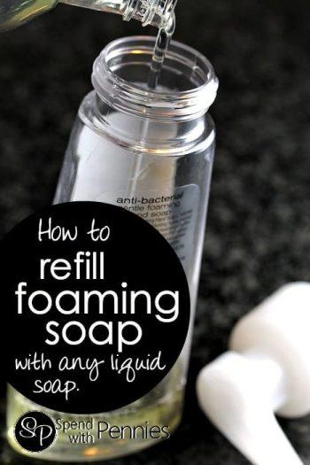 foaming soap bottle being refilled