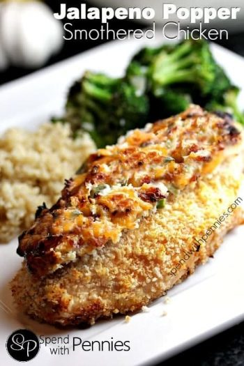 Jalapeno Popper Smothered Chicken, Crispy baked chicken smothered in a cheesy jalapeno topping with rice and broccoli