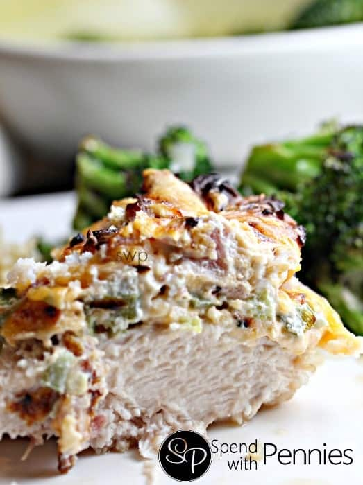 Juicy chicken topped with a creamy jalapeno and cheese topping! Totally crazy good!