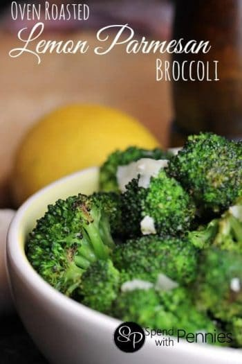 broccoli in a bowl with a lemon in the background