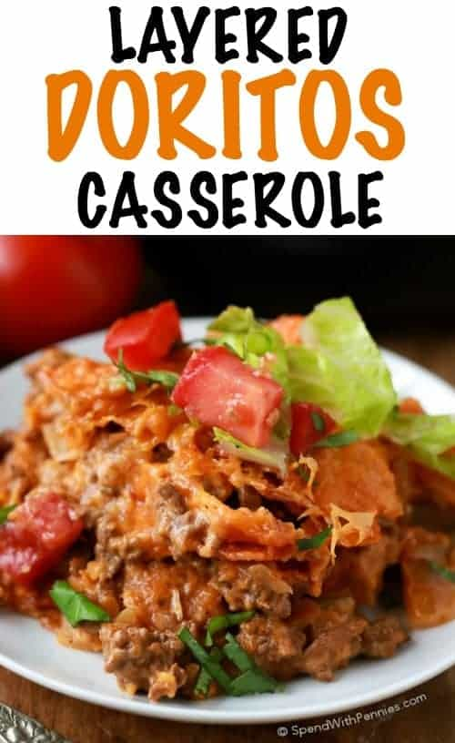 Layered Doritos Casserole! Layers of meat, a deliciously creamy cheesy sour cream sauce and Doritos! Easy and Amazing!