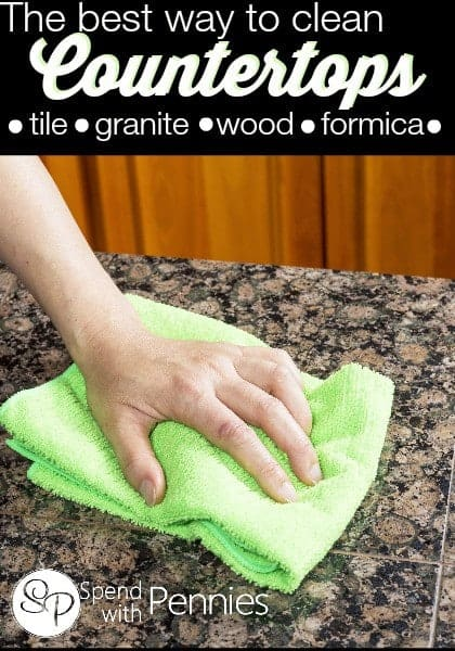 The best way to clean countertops incluing tile, wood, granite & more!