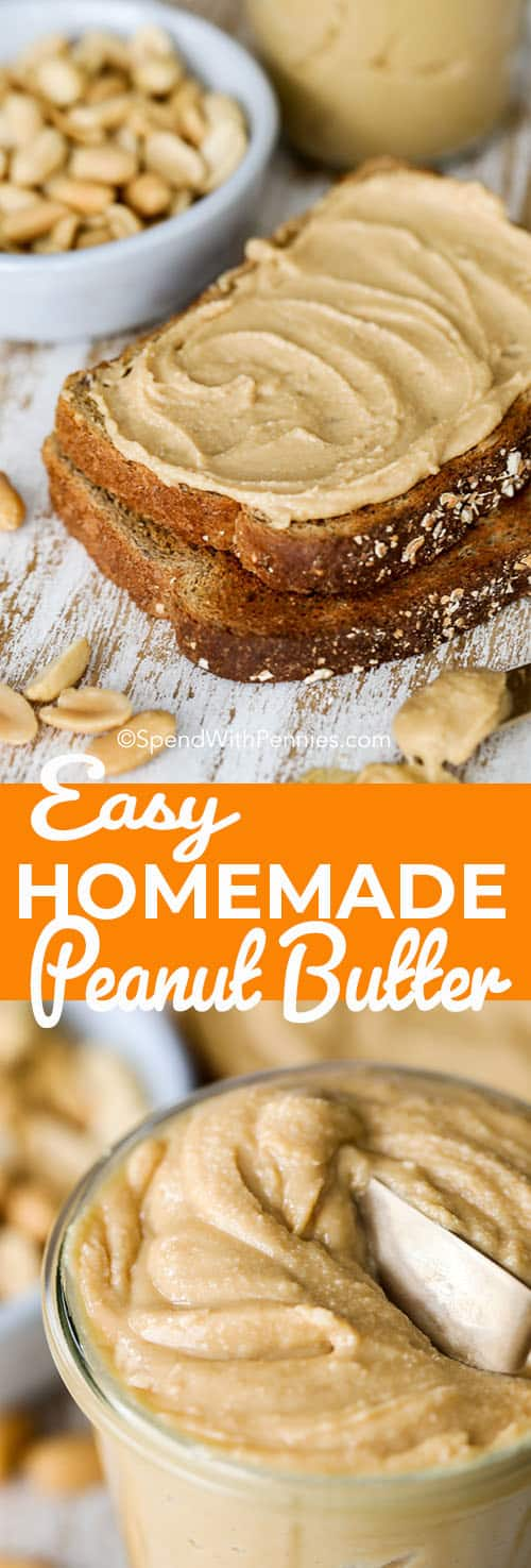 Peanuts, honey and salt make the perfect easy homemade peanut butter recipe! Perfect for PB&J and baking, it's so much better homemade. #spendwithpennies #peanutbutter #homemadepeanutbutter #howtomakepeanutbutter