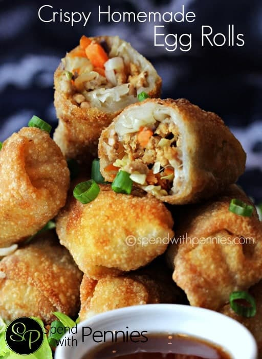 Stack of Delicious Crispy homemade egg rolls