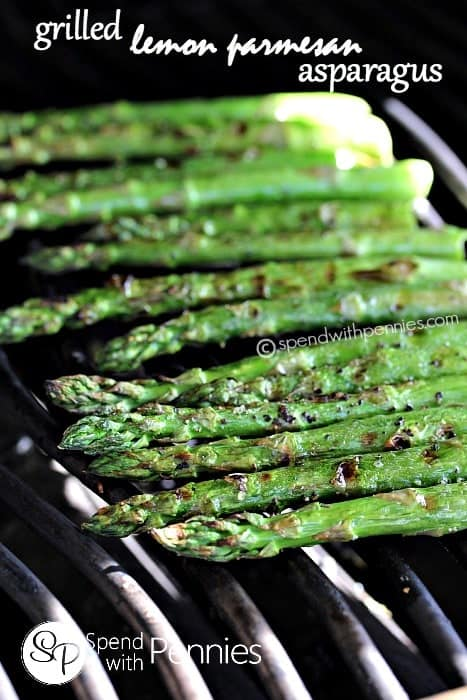 grilled asparagus on the grill