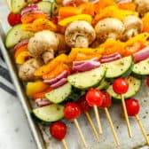 Vegetable Skewers on a baking sheet before being cooked
