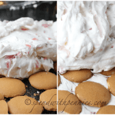 making Whipped Strawberry Icebox cake with cookies and whipped cream