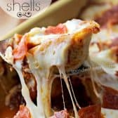 pasta shells stuffed with a lean beef & pepperoni filling and topped with gooey mozzarella cheese and pepperoni