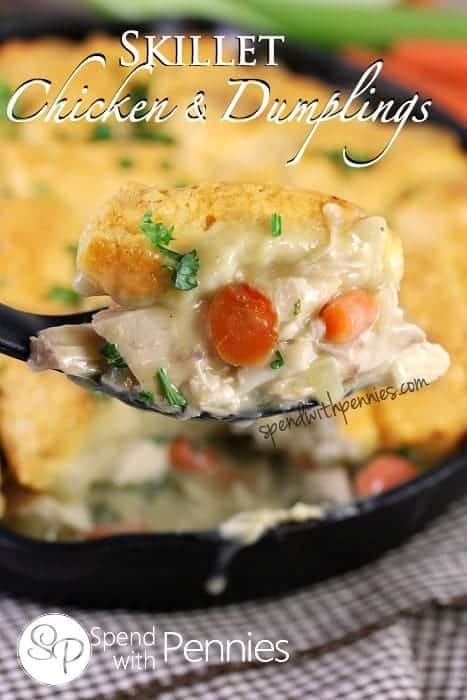 Skillet Chicken and Dumplings! This dish is SO easy to make and so delicious!
