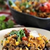 a serving of cheesy fiesta skillet with velvet, garnished with tomatoes and cilantro, with a skillet in the background