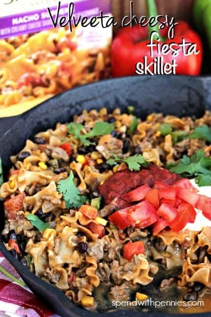 Velveeta Cheesy Fiesta Skillet!! This is delicious! #whatmyskilletisfor @LiquidGold