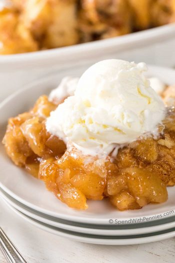 2 Ingredient Apple Pie Dumplings on a plate with ice cream