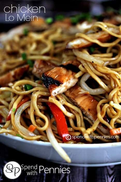 Easy Chicken Lo Mein is a favorite around here and this easy homemade version is even better than takeout! A simple dish loaded with fresh egg noodles, delicious hoisin grilled chicken, veggies all tossed in a delicious Asian sauce!
