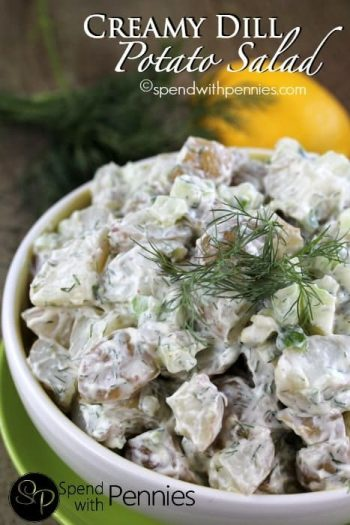 potato salad topped with dill