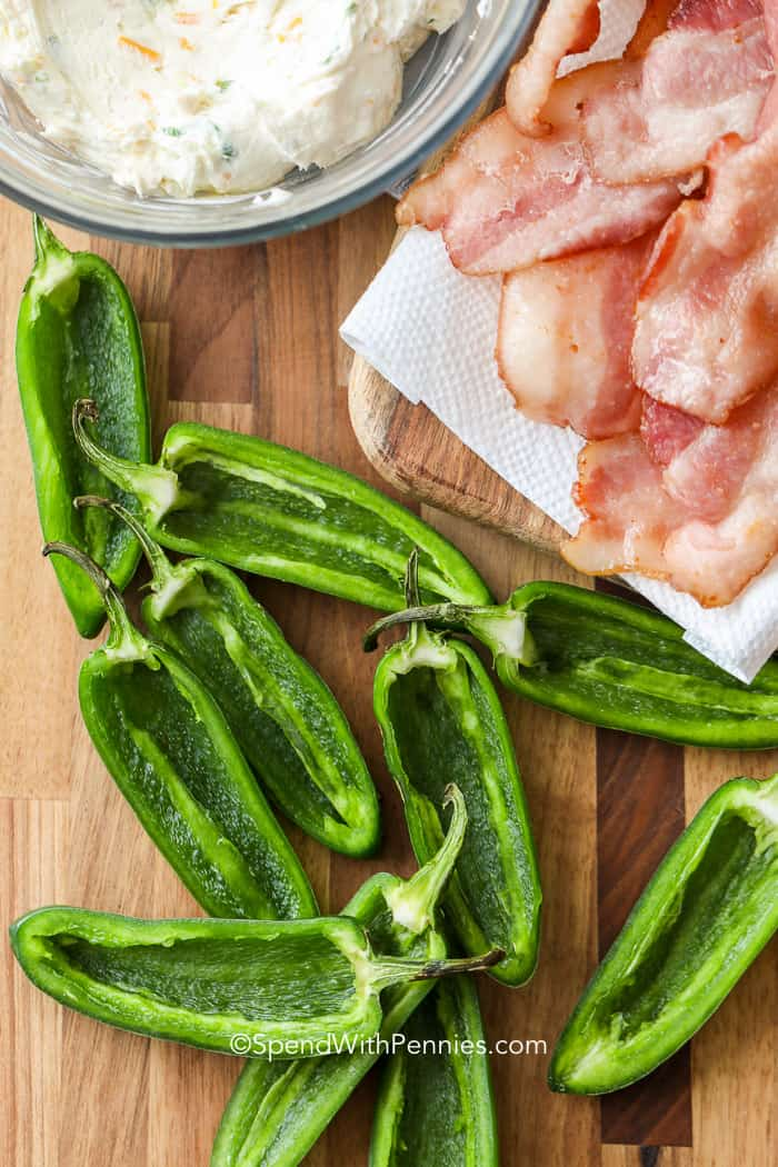 Ingredients to make grilled jalapeno poppers