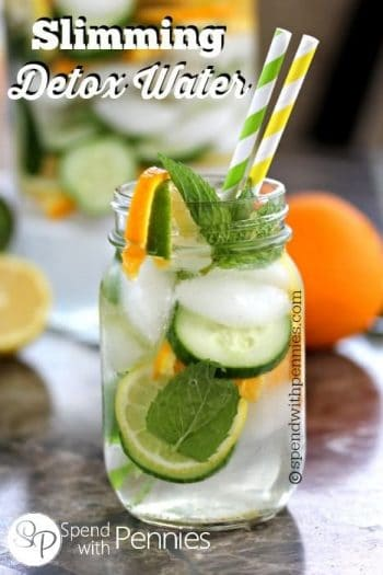 water with cucumbers and citrus in a jar
