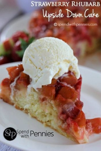 Strawberry Rhubarb Upside Down Cake with a title