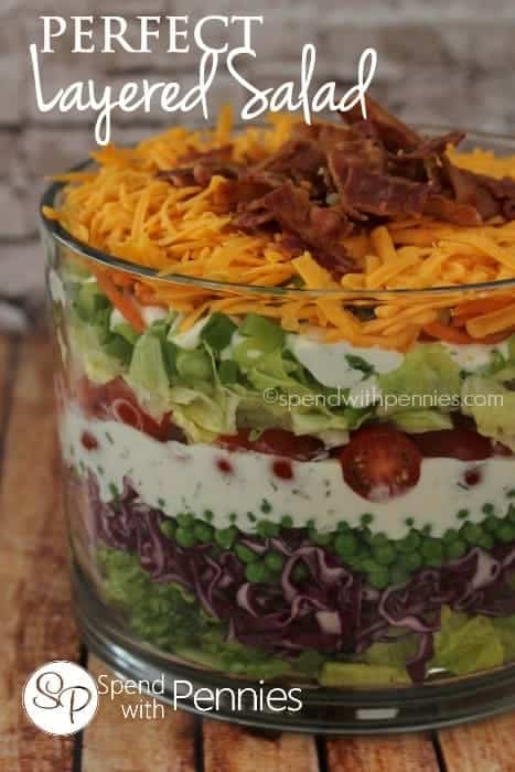 The Perfect Layered Salad! With pretty layers of fresh vegetables, bacon and cheddar, I love to bring this to any gathering!