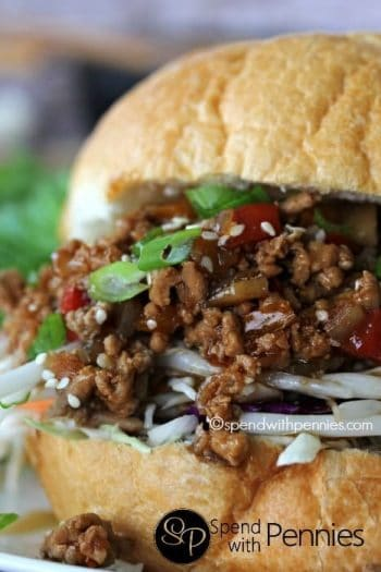 Asian Sloppy Joes with green onions and sesame seeds