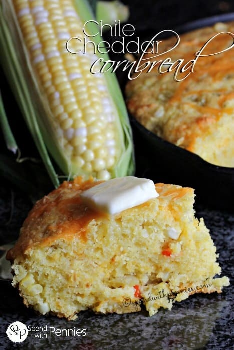 Chile Cheddar Cornbread! Our favorite light fluffy cornbread recipe!  This is perfect served alongside chili or with a pat of butter and some honey!