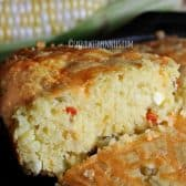 a slice of cornbread being served