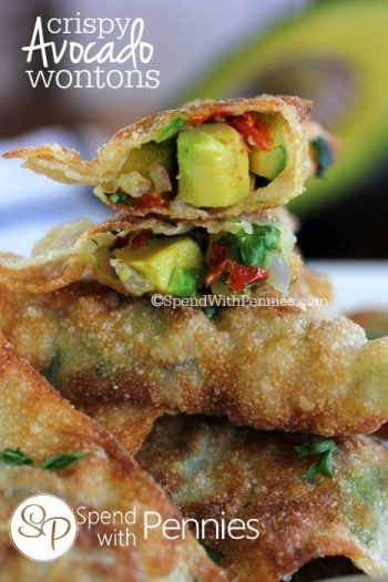 wontons stuffed with avocado