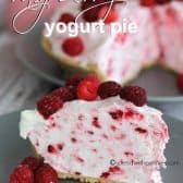 yogurt pie with raspberries shown with a title