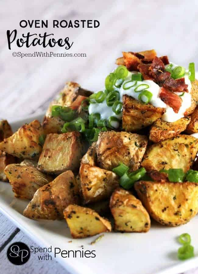 Oven Roasted Potatoes topped with green onion, sour cream and bacon
