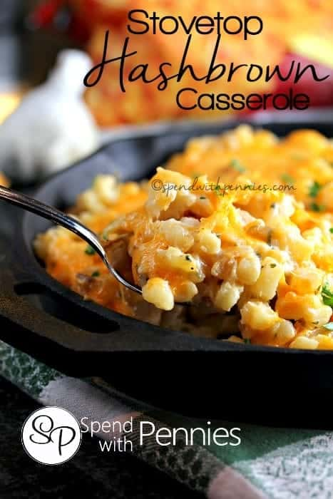 Stovetop Hashbrown Casserole! A fast and deliciously cheesy hashbrown casserole.. no oven required!! The whole family loves this!