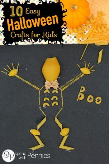 macaroni skeleton on black paper