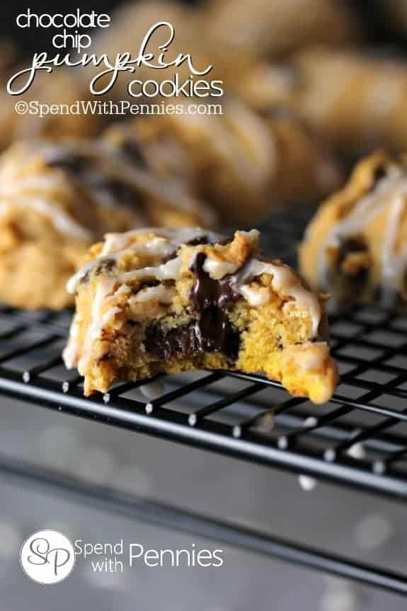 Deliciously soft pumpkin cookies loaded with chocolate chips are the perfect fall treat! Glaze these with a quick maple glaze for an extra yummy treat!