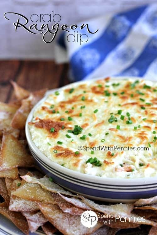 Easy Crab Rangoon Dip (with wonton chips!). This is probably the best hot crab dip on the whole planet! Cream cheese is loaded up with crab and seasonings and served with crispy wonton chips!
