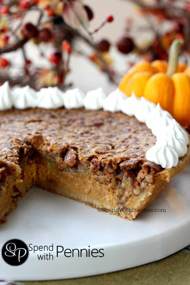Pecan Pumpkin Pie! Delicious pumpkin pie with a pecan pie topping!