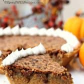 Perfect Pumpkin Pecan Pie slice on plate